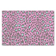 Shop Girly Pink Aqua Black Leopard Animal Print Pattern Tissue Paper created by kicksdesign.