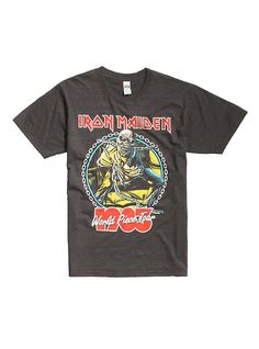Iron Maiden World Piece Tour 1983 T-Shirt, HEATHER GREY