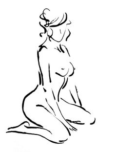 Original Nude Drawing Bathroom Art Bedroom Art by FormElation
