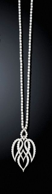 A Diamond Necklace By Cartier   The pendant designed as five stylistically intertwined graduated shapes with curved borders to the brilliant-cut diamond back chain, 25.0 cm. long  Signed Cartier London, no. 4961