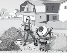 Preparare beton la betoniera manual