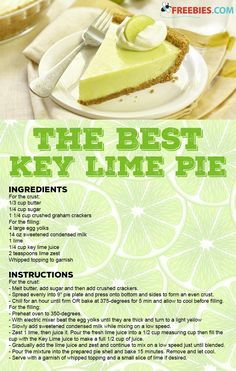 The most AMAZING No Bake Key Lime Pie with a gorgeous lime cheesecake filling and a crunchy cookie c Yummy Recipes, Lime Recipes, Dump Cake Recipes, Sweet Recipes, Dessert Recipes, Recipies, Dessert Simple, Key Lime Desserts, Easy Desserts