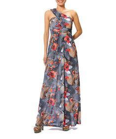 Gray Bira Asymmetrical Maxi Dress by smash! #zulily #zulilyfinds