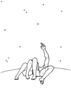 Image about love in Bakgrunn by uglepower on We Heart It Couple Drawings, Easy Drawings, Minimal Drawings, Look At The Stars, Stargazing, Art Inspo, Art Sketches, Line Art, Illustration Art