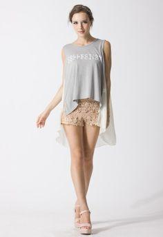 Floral Crochet Shorts in Peach