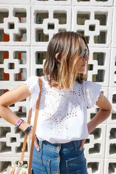 Pretty white eyelet top for summer.