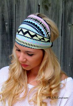 Yoga Wide Headband Aztec Turban Band Turband Mint by SWAKCouture