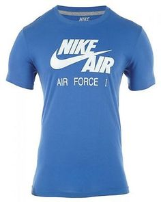 NIKE AIR FORCE 1 Style# 450938 MENS T-Shirts 450938-478 BLUE/WHITE SZ-L