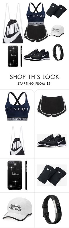 """""""Workout Buddies?🏋"""" by babygirllovefashion ❤ liked on Polyvore featuring Pretty Little Thing, NIKE, Tek Gear and Fitbit"""