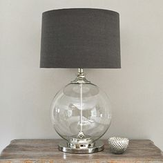 Glass Ball Table Lamp & Grey Shade - Glass Table Lamp, Linen Drum Lamp Shade, Table Lamps & Lamp Shades