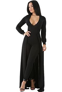 40de242d0b68 Melory Women s sexy solid color scooped v-neckline long cuff sleeves Maxi  Skirt Overlay Elegant Party maxi Jumpsuit
