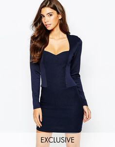 Vesper Sweetheart High Neck Pencil Dress With Long Sleeve