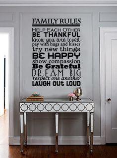 Family Rules Vinyl Wall Art by designstudiosigns on Etsy. $36.50 USD, via Etsy.
