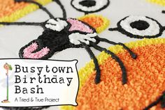 "Busytown Birthday Bash - LOVE the printed pictures of the characters ""flying"" with the balloons!"
