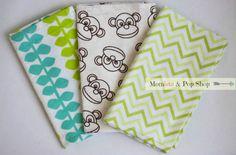 Flannel Baby Burp Cloth Gift Set Of 3 // Monkey, Green Chevron, Blue & Green Vine by Momista & Pop Shop