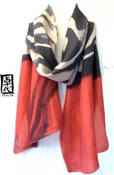 Large Silk Scarf Hand Painted, Red Silk Scarf, Zen Wave Japanese Scarf, Silk Dye. Made in USA. Silk Scarves Takuyo. 14x70 in.. $86.00, via Etsy.