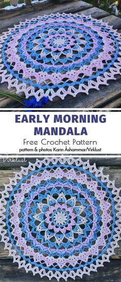 Happy Crochet Mandalas Free Patterns Early Morning Mandala Free Crochet Pattern Learn the rudiments Motif Mandala Crochet, Crochet Feather, Free Crochet Doily Patterns, Crochet Coaster Pattern, Crochet Geek, Thread Crochet, Crochet Doilies, Crochet Dreamcatcher Pattern Free, Crochet Stitches