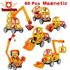 Mini 60 Pcs/Lot Designer Magnétique Jeu De Construction Modèle et Jouet de Bâtiment En Plastique Éducatifs Magnétique Blocs Jouets Pour Enfants