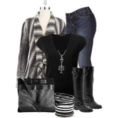 """Black & Grey"" by chells-style on Polyvore"