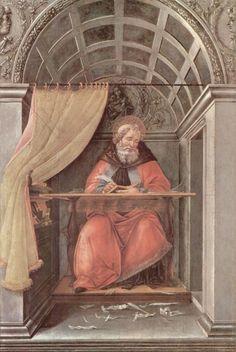Sandro Botticelli.  Hl. Augustinus in Klausur. Um 1495, Tempera auf Holz, 41 × 27 cm. Florenz, Galleria degli Uffizi. Italien. Renaissance.  KO 02469
