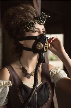 Masque à Gaz Brassard Steampunk Gothique Simili Cuir - Goggles Acc. Steam…