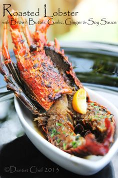 Roasted Lobster with Brown Butter, Garlic, Ginger and Soy Sauce Glaze Recipe Soy Sauce Glaze Recipe, Recipes With Soy Sauce, Duck Recipes, Meat Recipes, Seafood Recipes, Cooking Recipes, Savoury Recipes, Schweinshaxe Recipe, Chorizo