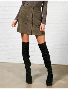#ARKLOVES this khaki micro cord mini SS16 from our Meadow Luxe trend...  Hearts and Bows Cassie Front Button Fastening A Line Skirt