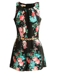 Black Floral Print Belted Playsuit