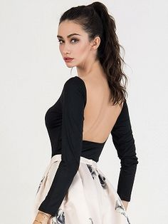 Shop Black Scoop Neck Long Sleeve Backless Bodysuit from choies.com .Free shipping Worldwide.$7.9