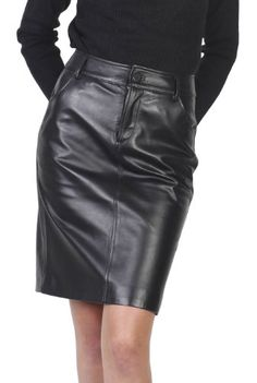 BGSD Women's Classic Lambskin Leather Pencil Skirt - Misses ...