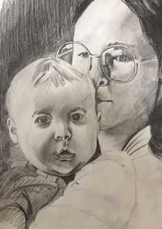 Pencil drawing of a mother and her child. For Sale on Saatchi Art website.