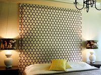 Great tutorial on how to make a fabric wall headboard