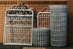 Woven Wire Fencing heritage traditional wire late Victorian Bungalow fence Must Have Front Yard Fence, Farm Fence, Dog Fence, Wire And Wood Fence, Wood Fence Gates, Old Gates, Chook Pen, Building A Fence, Fence Design