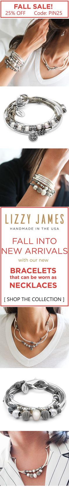 Lizzy James' Fall 2017 unveiling of NEW ARRIVALS! Get 25% OFF with CODE - PIN25 Plus Free Shipping during our Fall Sale. Featuring wrap bracelets that can be worn as necklaces. Available in 30+ leather colors to choose from. Handmade in the USA and currently part of our sitewide Lizzy James sale. #MadeInUSA
