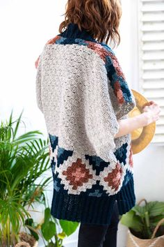Crochet Blouse Patterns Corner to corner crochet southwest ruana poncho pattern from Corner to Corner Crochet: 15 Contemporary projects book by Jess Coppom of Make Crochet Waistcoat, Gilet Crochet, Crochet Coat, Crochet Cardigan Pattern, Crochet Shirt, Crochet Jacket, Crochet Books, Crochet Clothes, Crochet Vests