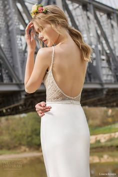limor rosen bridal 2015 lauren wedding dress beaded net sleeveless halter neck bodice close up back view
