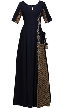Blue printed floral zari embroidered kalidaar anarkali kurta available only at Pernia's Pop Up Shop.