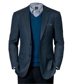 Signature Tailored Fit Textured 2-Button Sportcoat, Men's Fashion