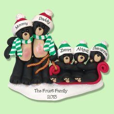 Black Bear Family of 5 in Sled HANDMADE by PersonalizedOrnament