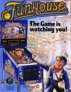 The Arcade Flyer Archive - Pinball Machine Flyers: FunHouse, Williams Electronic Games, Inc. Bar Deco, Pinball Wizard, Arcade Games, Pinball Games, Game Room, Video Games, Nostalgia, Weird Toys, Retro Arcade