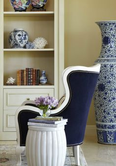 navy chair with white piping