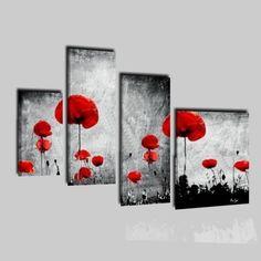 Cuadros modernos con flores gris y rojo - Infinity