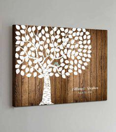 He encontrado este interesante anuncio de Etsy en https://www.etsy.com/es/listing/190543473/125-guest-canvas-wedding-guest-book-wood