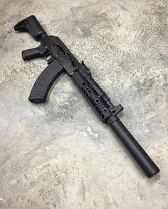 A little SBR AK action with a suppressor! Military Weapons, Weapons Guns, Guns And Ammo, Armas Airsoft, Battle Rifle, Custom Guns, Fire Powers, Cool Guns, Assault Rifle
