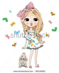Beautiful Romantic Girl Vectores en stock y Arte vectorial | Shutterstock