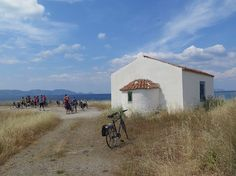 A white chapel is a meeting point on our ride on the Peloponnese during our 40 km ride.