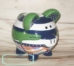 SMALL Alligator Madras artisan hand painted ceramic personalized by Alphadorable, $58.00