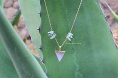 Alphagone #4 : Collier pendentif cristal quartz rose / pink quartz pendant necklace
