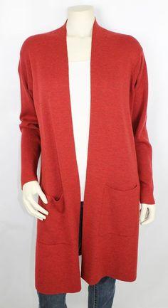 Eileen Fischer Red Open Front Long Sleeve Duster Cardigan Sweater Size Medium #EileenFischer #Cardigan
