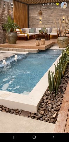 Small Backyard Pools, Backyard Patio Designs, Swimming Pools Backyard, Swimming Pool Designs, Pool Landscaping, Backyard Ideas, Pools For Small Yards, Small Swimming Pools, Outdoor Rooms